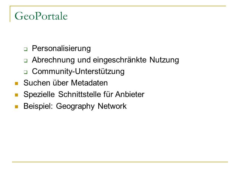 GeoPortale Personalisierung Abrechnung und eingeschränkte Nutzung