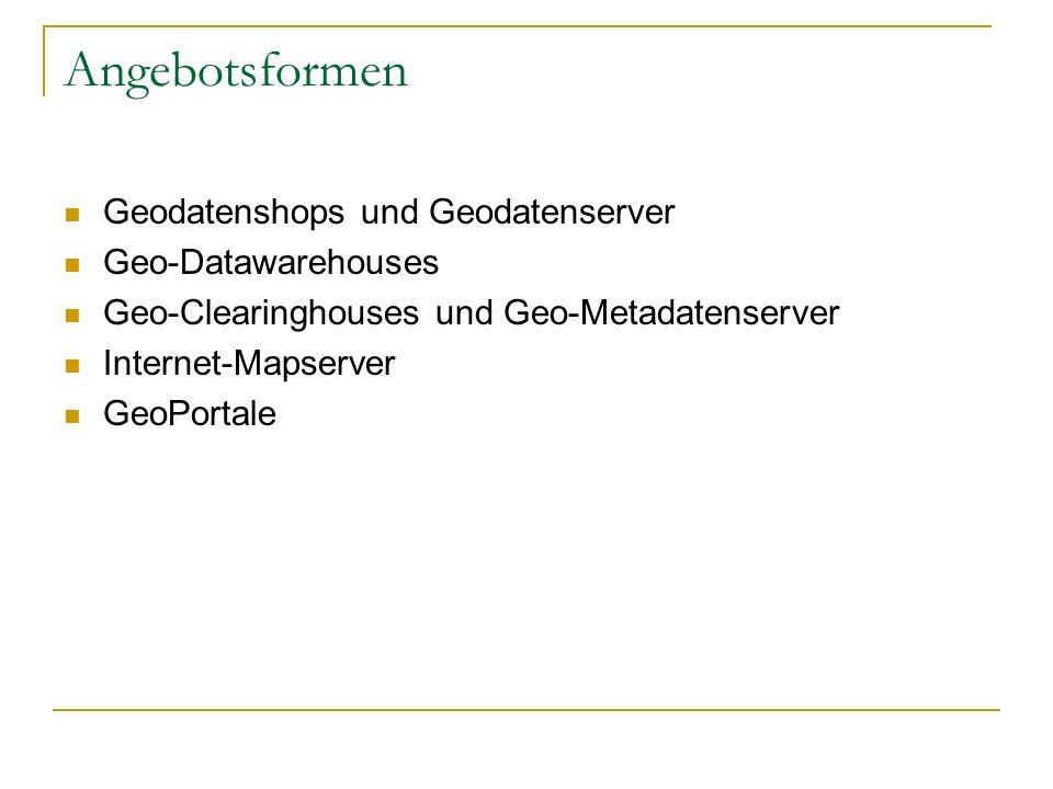 Angebotsformen Geodatenshops und Geodatenserver Geo-Datawarehouses