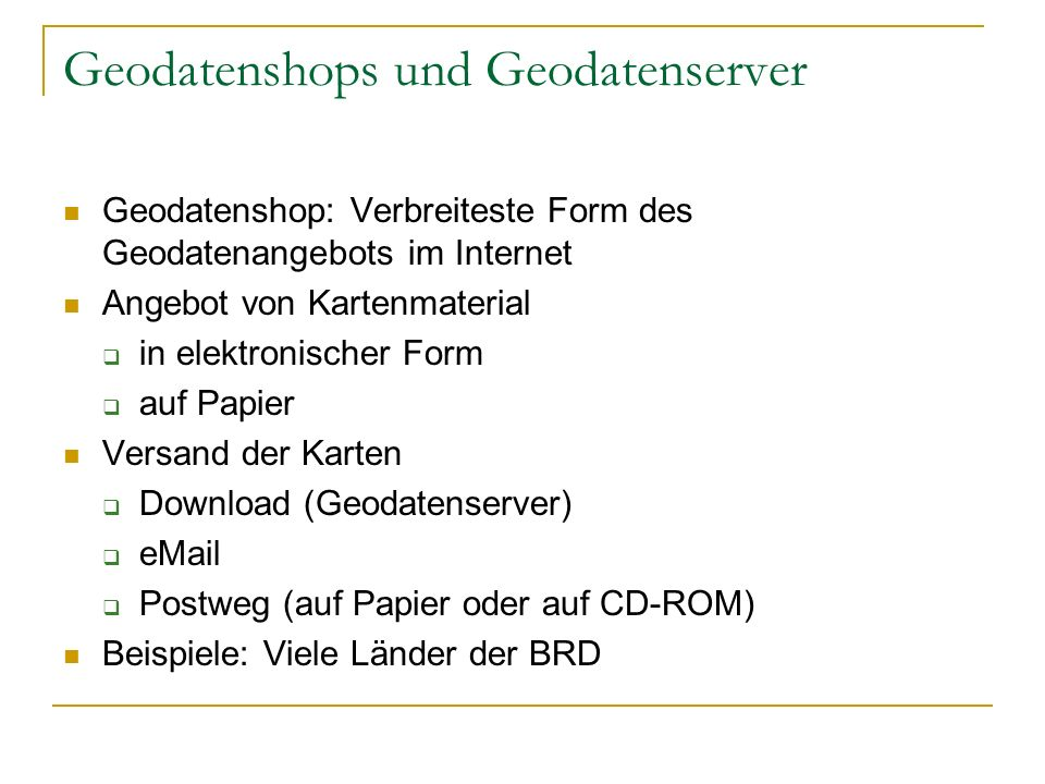 Geodatenshops und Geodatenserver