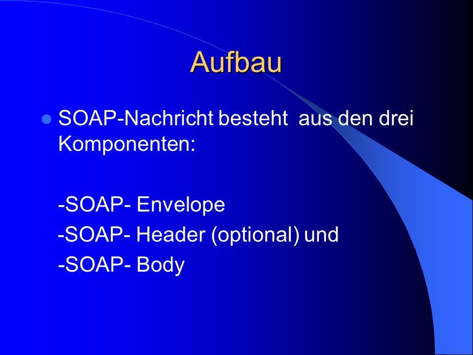 Aufbau SOAP-Nachricht besteht aus den drei Komponenten: