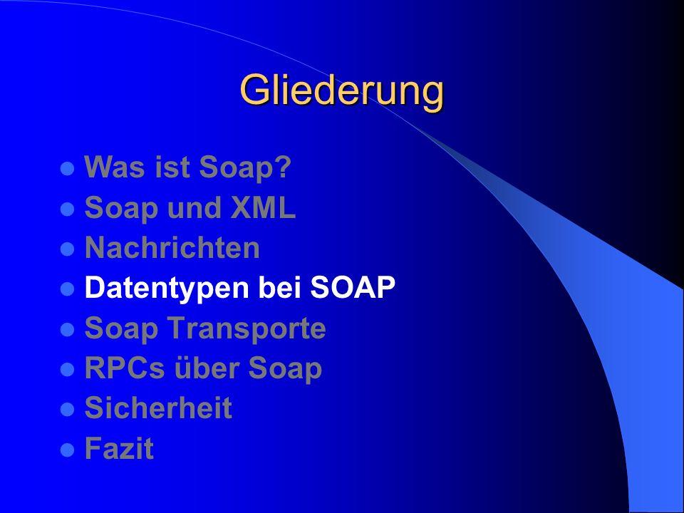 Gliederung Was ist Soap Soap und XML Nachrichten Datentypen bei SOAP