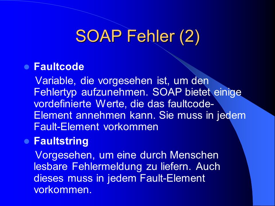 SOAP Fehler (2) Faultcode