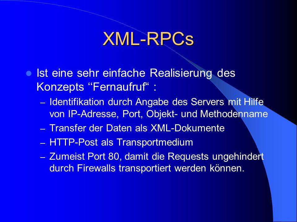 XML-RPCs Ist eine sehr einfache Realisierung des Konzepts ''Fernaufruf :
