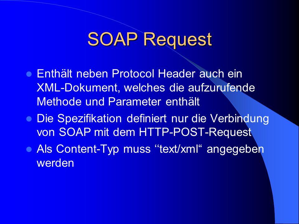SOAP Request Enthält neben Protocol Header auch ein XML-Dokument, welches die aufzurufende Methode und Parameter enthält.