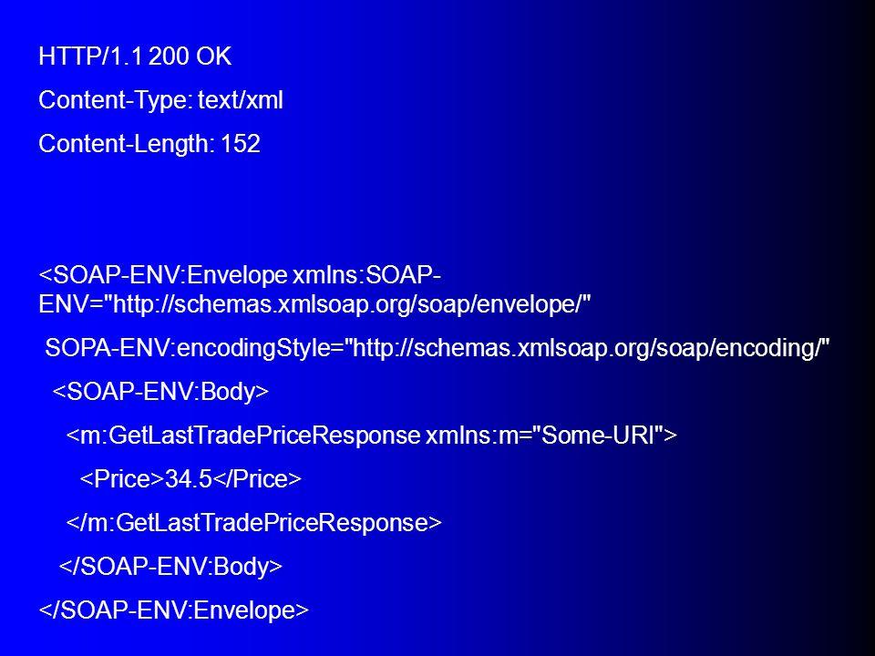 HTTP/1.1 200 OK Content-Type: text/xml. Content-Length: 152. <SOAP-ENV:Envelope xmlns:SOAP-ENV= http://schemas.xmlsoap.org/soap/envelope/