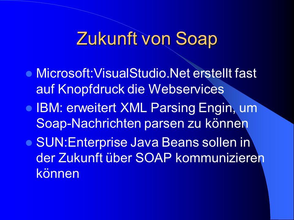 Zukunft von Soap Microsoft:VisualStudio.Net erstellt fast auf Knopfdruck die Webservices.