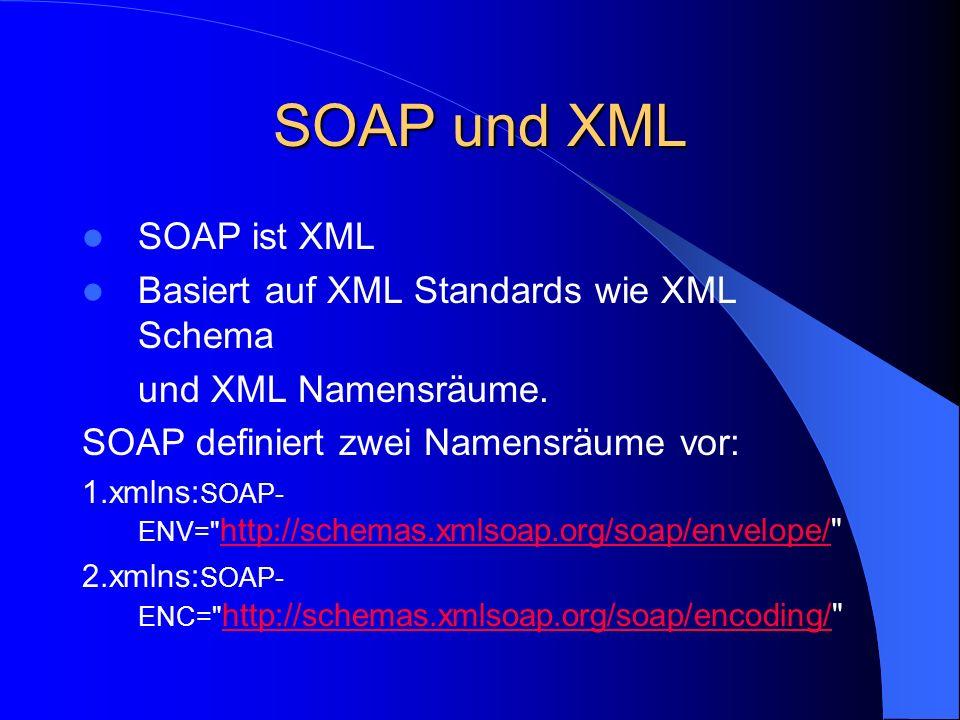 SOAP und XML SOAP ist XML Basiert auf XML Standards wie XML Schema