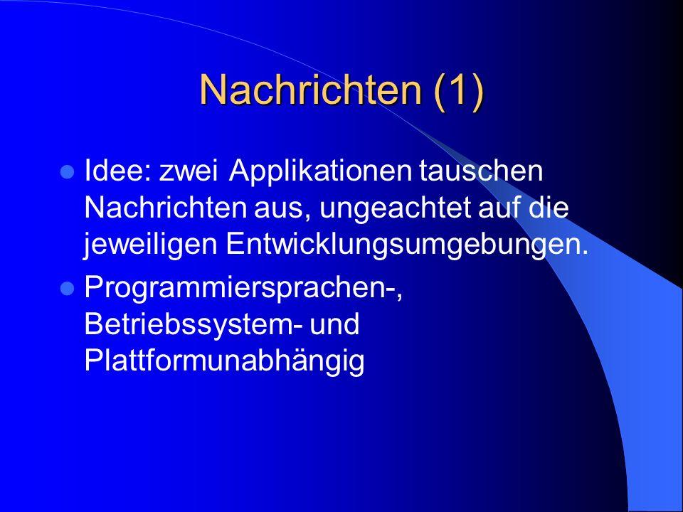 Nachrichten (1) Idee: zwei Applikationen tauschen Nachrichten aus, ungeachtet auf die jeweiligen Entwicklungsumgebungen.