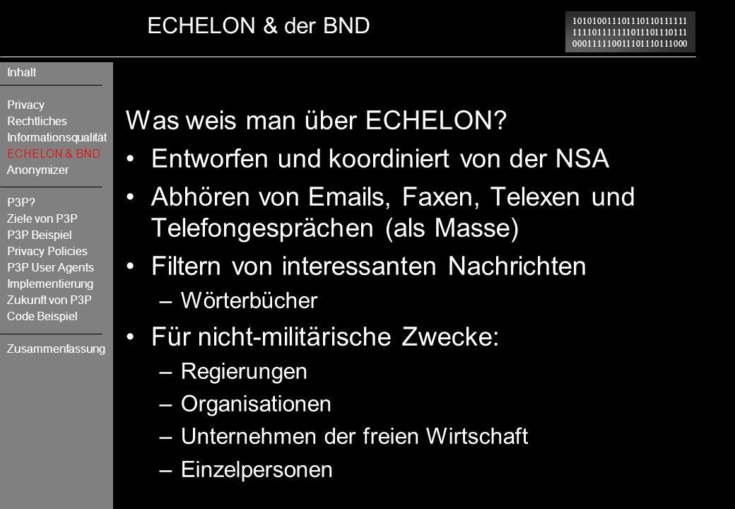 Was weis man über ECHELON Entworfen und koordiniert von der NSA