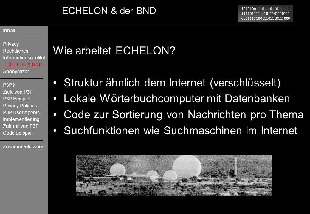 Struktur ähnlich dem Internet (verschlüsselt)