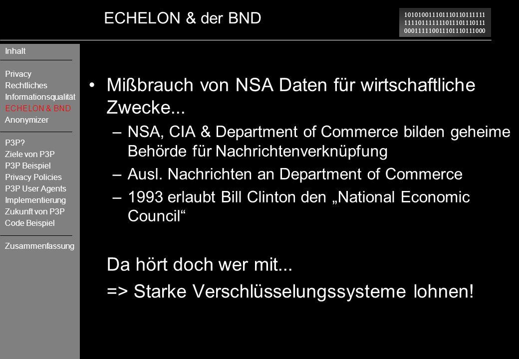 Mißbrauch von NSA Daten für wirtschaftliche Zwecke...