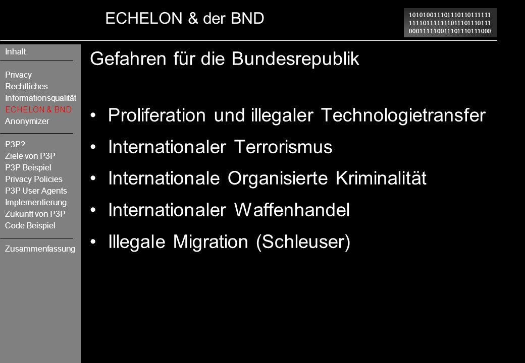 Gefahren für die Bundesrepublik