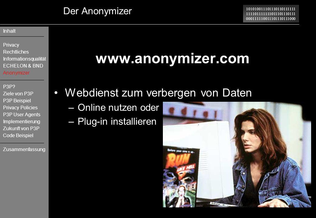 www.anonymizer.com Webdienst zum verbergen von Daten Der Anonymizer
