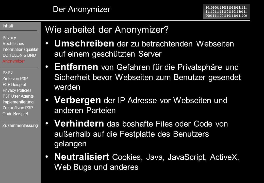 Wie arbeitet der Anonymizer