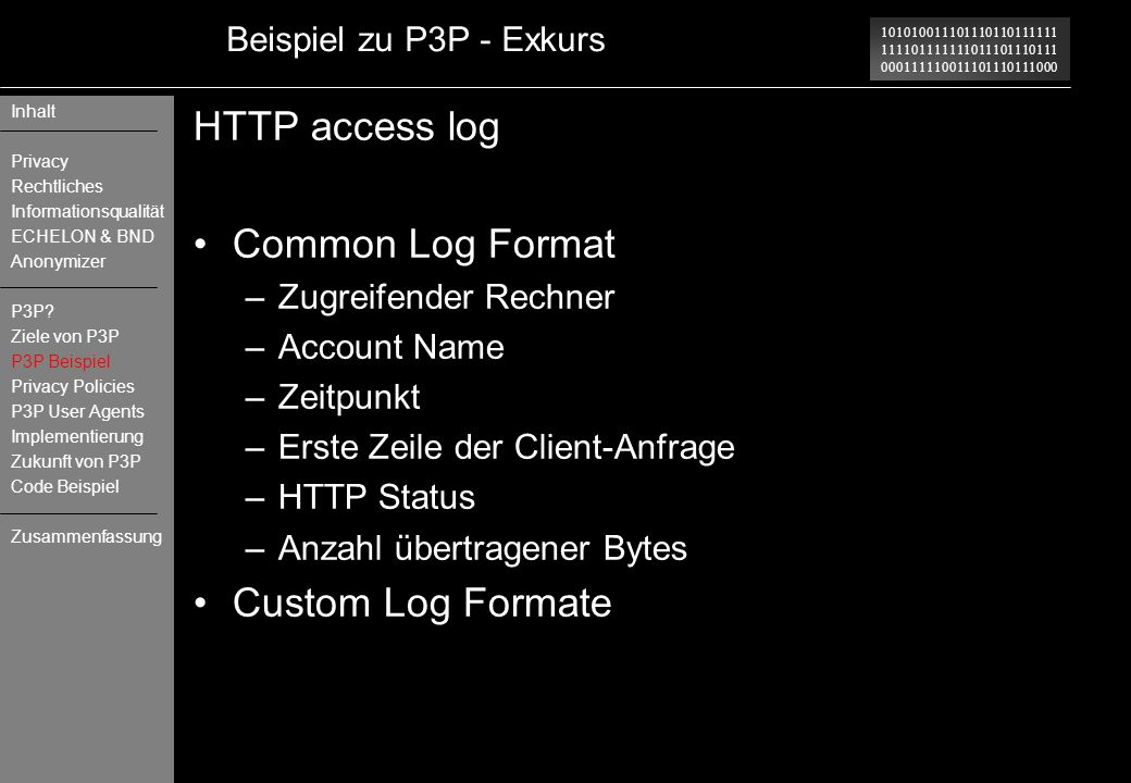 HTTP access log Common Log Format Custom Log Formate