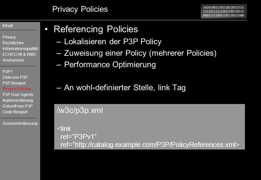 Referencing Policies Privacy Policies Lokalisieren der P3P Policy