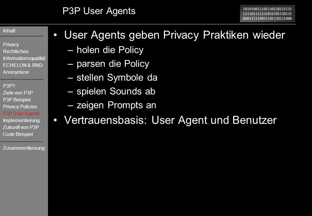User Agents geben Privacy Praktiken wieder