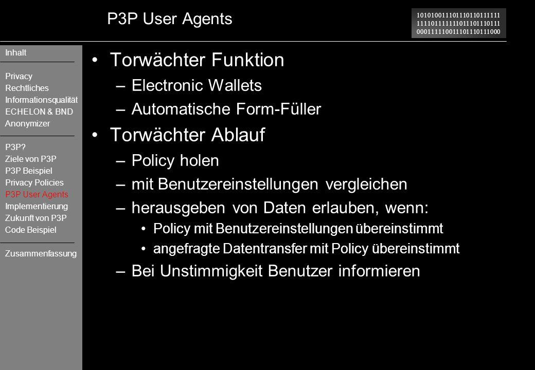 Torwächter Funktion Torwächter Ablauf P3P User Agents