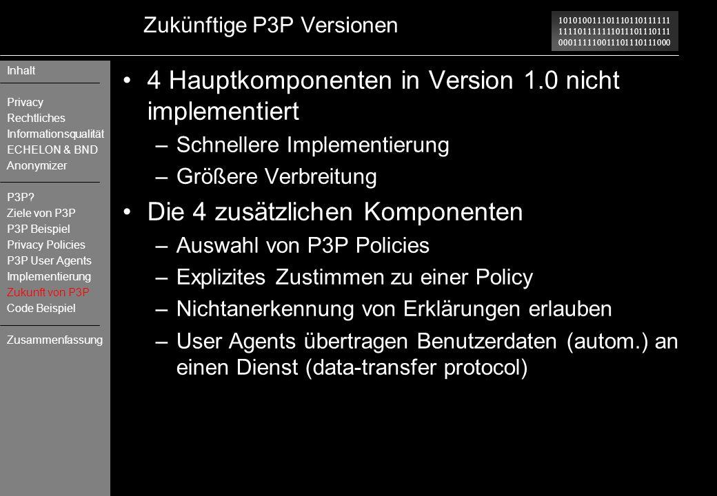 Zukünftige P3P Versionen