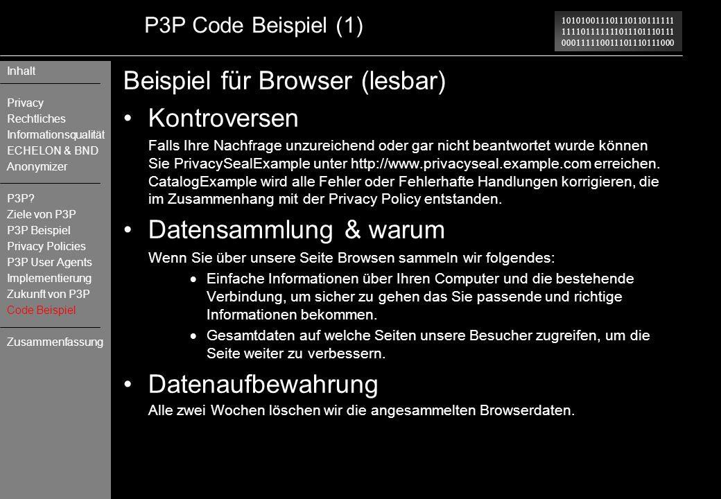 Beispiel für Browser (lesbar) Kontroversen