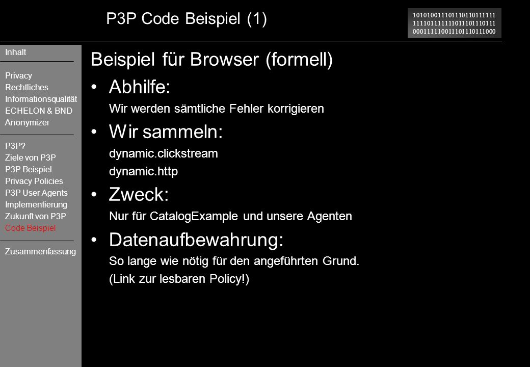 Beispiel für Browser (formell) Abhilfe: Wir sammeln: