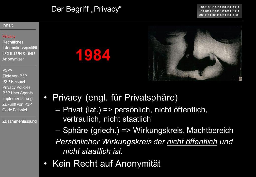 1984 Privacy (engl. für Privatsphäre) Kein Recht auf Anonymität