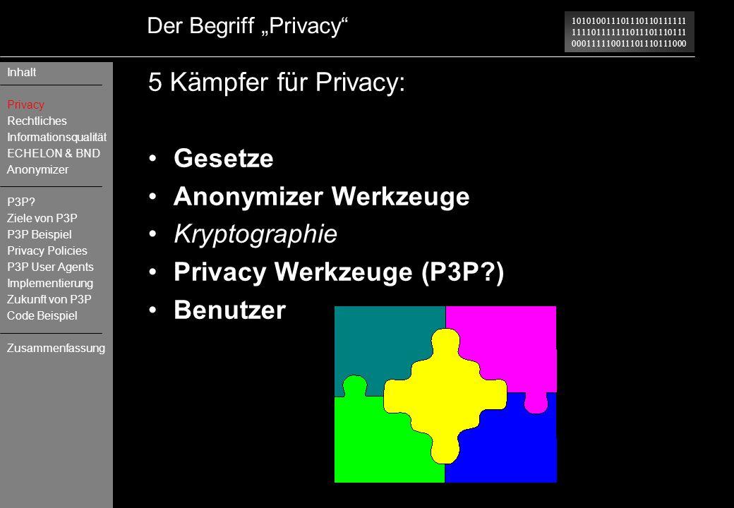 Privacy Werkzeuge (P3P ) Benutzer