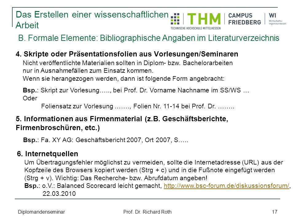 B. Formale Elemente: Bibliographische Angaben im Literaturverzeichnis