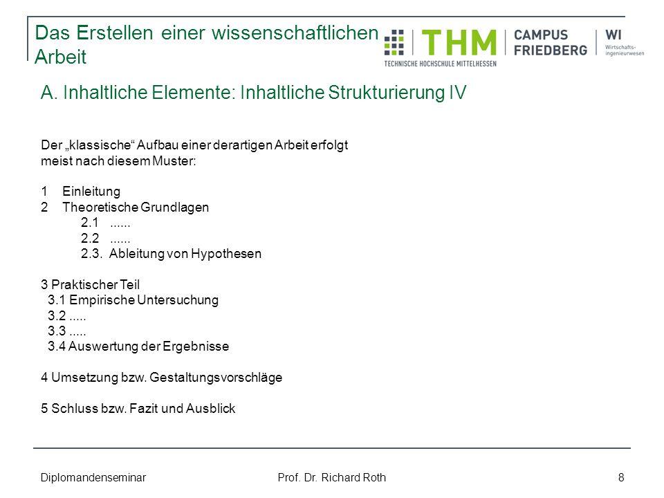 A. Inhaltliche Elemente: Inhaltliche Strukturierung IV