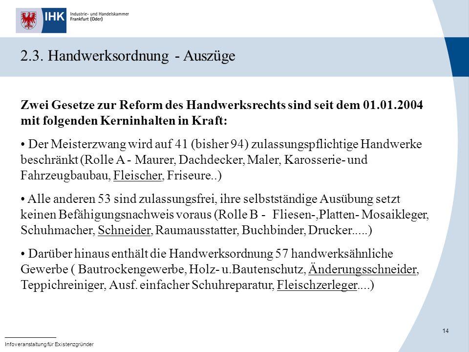 2.3. Handwerksordnung - Auszüge