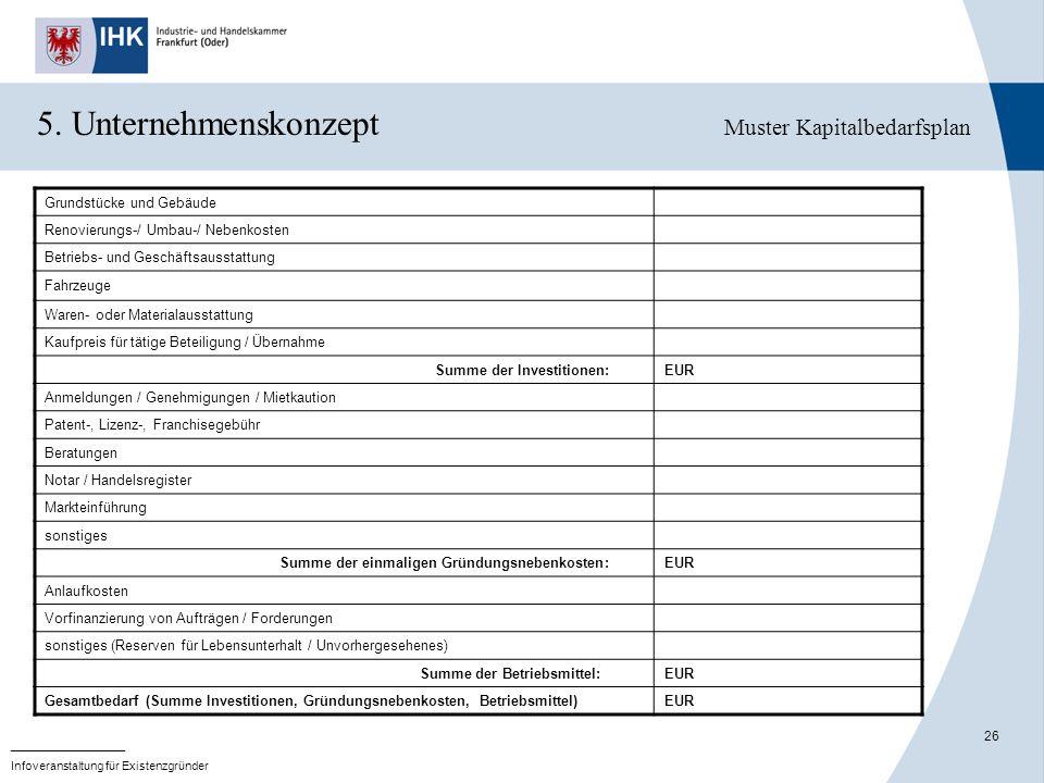 5. Unternehmenskonzept Muster Kapitalbedarfsplan