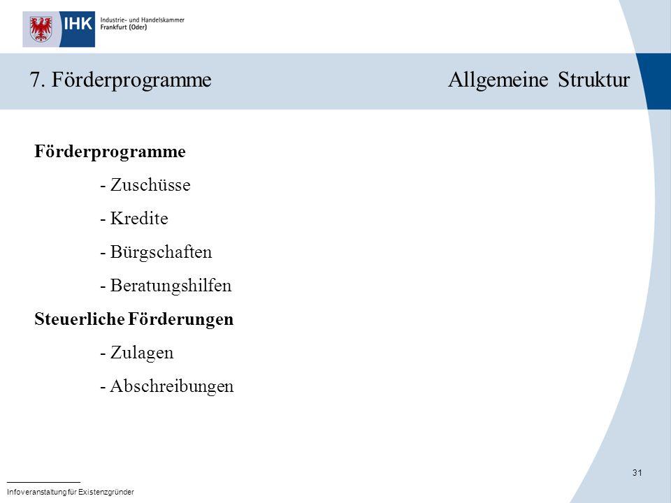 7. Förderprogramme Allgemeine Struktur