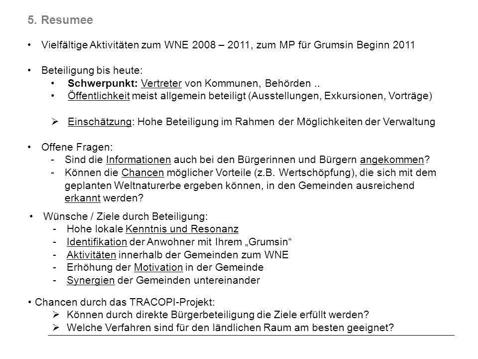 5. Resumee Vielfältige Aktivitäten zum WNE 2008 – 2011, zum MP für Grumsin Beginn 2011. Beteiligung bis heute: