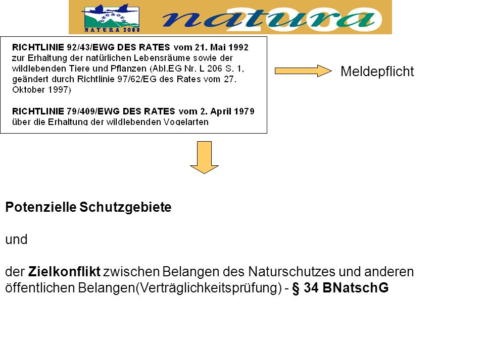 Meldepflicht Potenzielle Schutzgebiete. und.