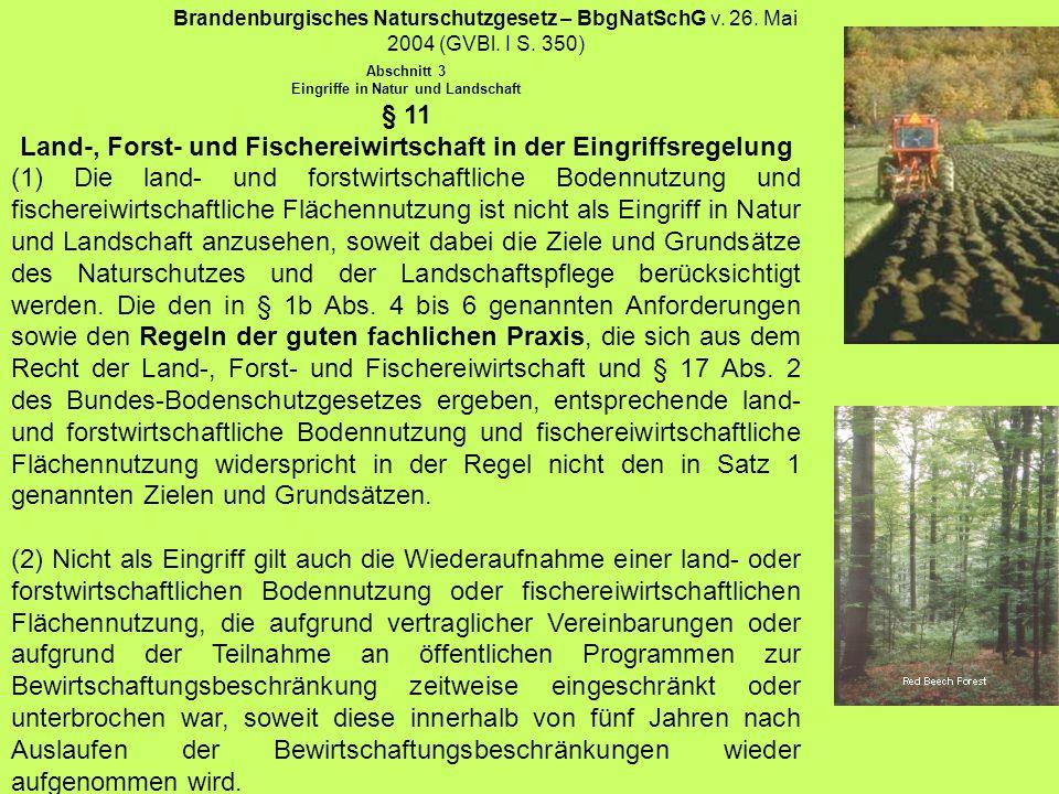 § 11 Land-, Forst- und Fischereiwirtschaft in der Eingriffsregelung