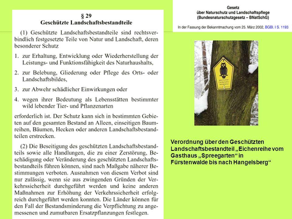 """Verordnung über den Geschützten Landschaftsbestandteil """"Eichenreihe vom Gasthaus """"Spreegarten in"""