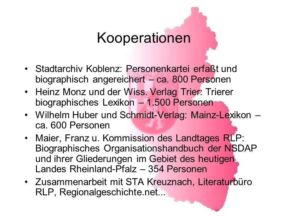 Kooperationen Stadtarchiv Koblenz: Personenkartei erfaßt und biographisch angereichert – ca. 800 Personen.