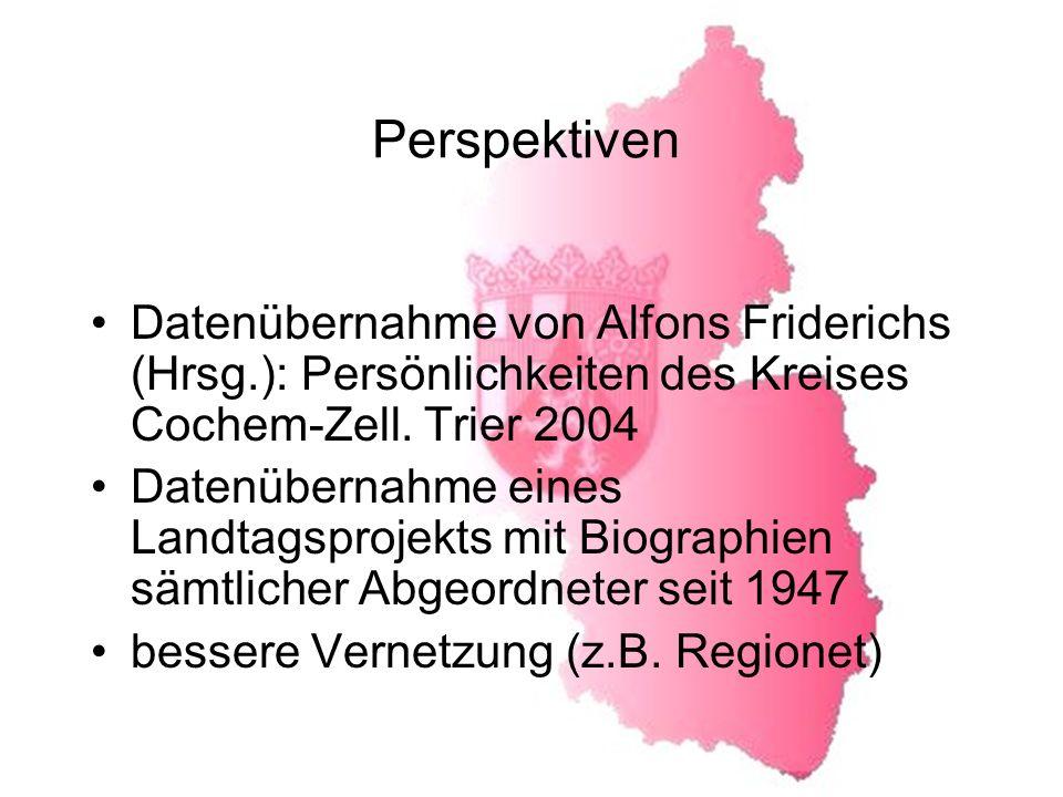 Perspektiven Datenübernahme von Alfons Friderichs (Hrsg.): Persönlichkeiten des Kreises Cochem-Zell. Trier 2004.