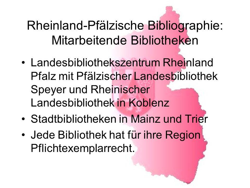 Rheinland-Pfälzische Bibliographie: Mitarbeitende Bibliotheken
