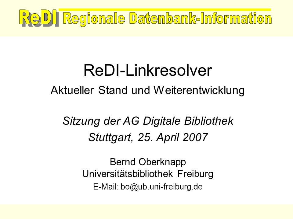 ReDI-Linkresolver Aktueller Stand und Weiterentwicklung