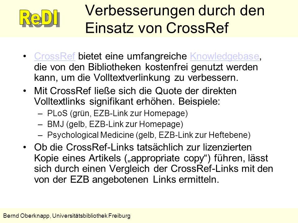 Verbesserungen durch den Einsatz von CrossRef