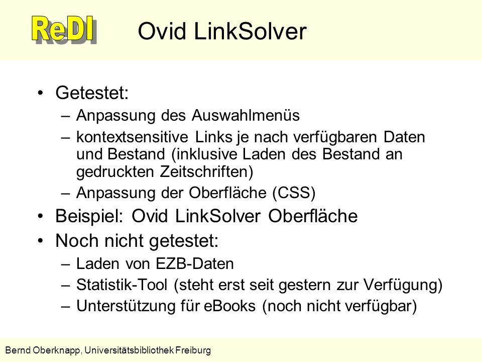 Ovid LinkSolver Getestet: Beispiel: Ovid LinkSolver Oberfläche