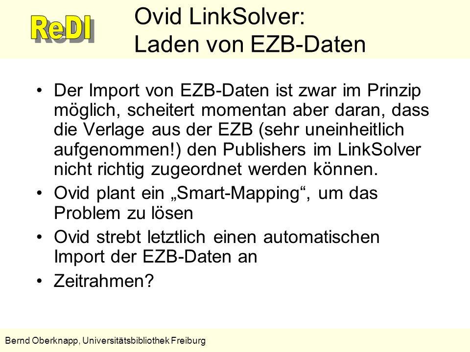 Ovid LinkSolver: Laden von EZB-Daten