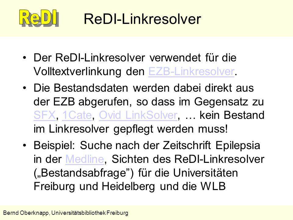 ReDI-Linkresolver Der ReDI-Linkresolver verwendet für die Volltextverlinkung den EZB-Linkresolver.