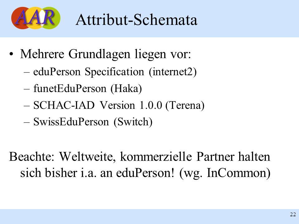 Attribut-Schemata Mehrere Grundlagen liegen vor: