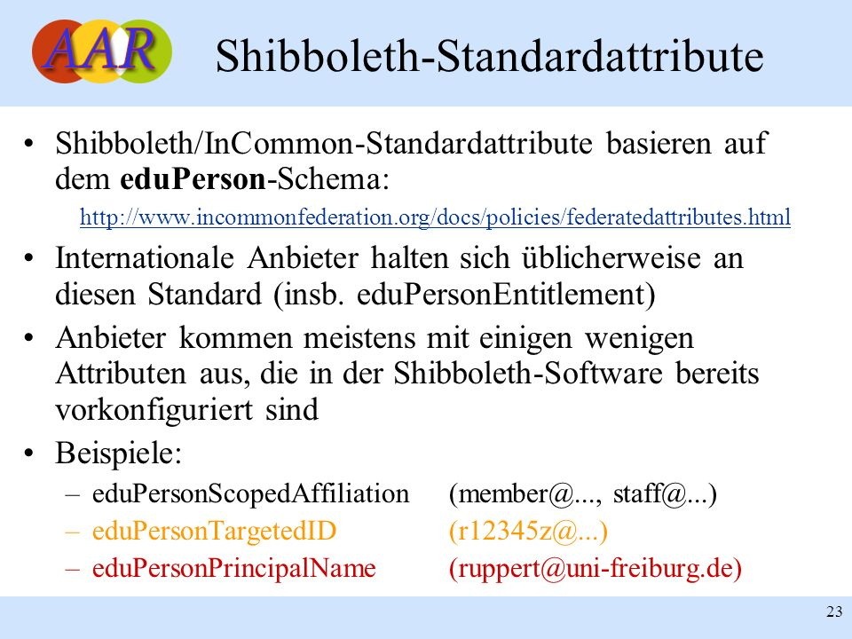 Shibboleth-Standardattribute