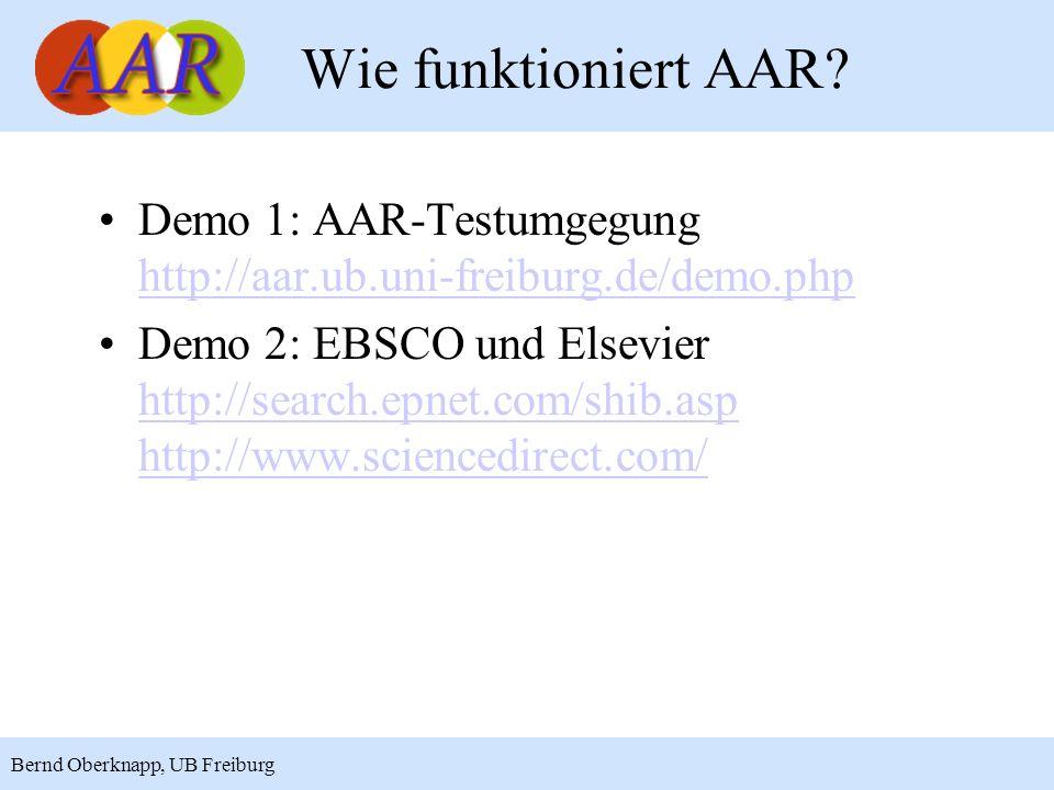 Wie funktioniert AAR Demo 1: AAR-Testumgegung http://aar.ub.uni-freiburg.de/demo.php.