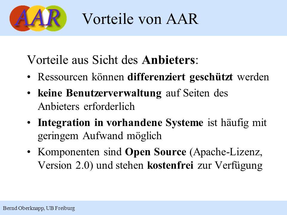 Vorteile von AAR Vorteile aus Sicht des Anbieters:
