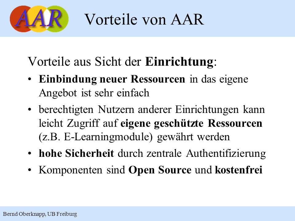 Vorteile von AAR Vorteile aus Sicht der Einrichtung: