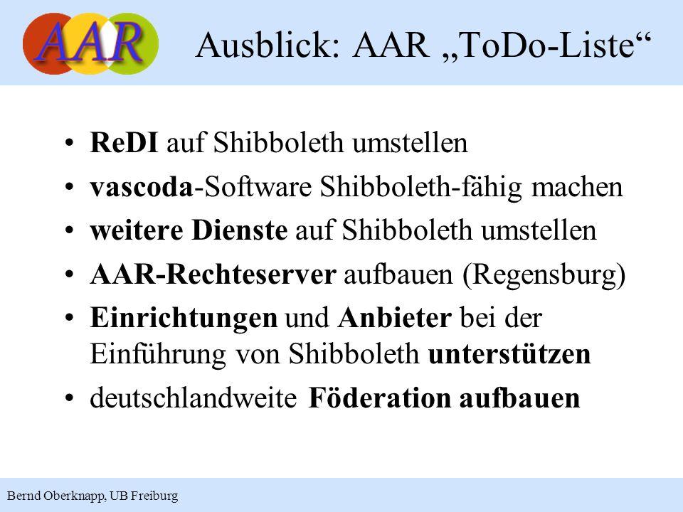 """Ausblick: AAR """"ToDo-Liste"""